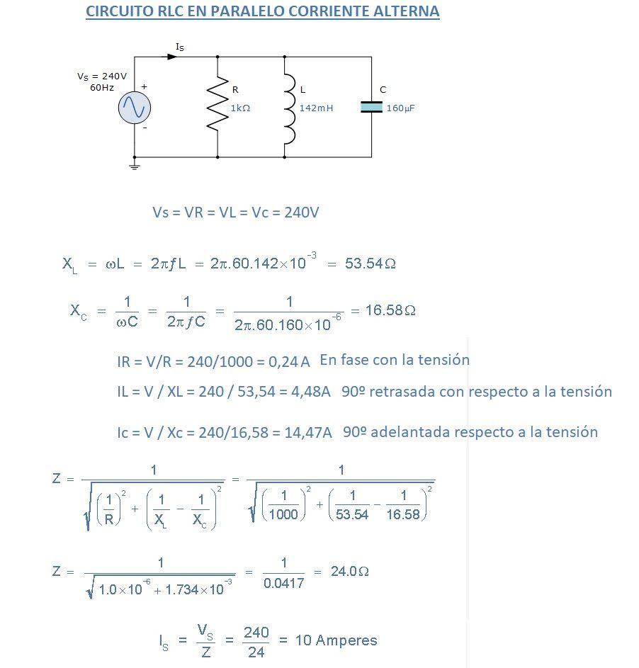 Circuito Rlc : Circuitos rlc en paralelo en corriente alterna y mixtos aprende facil