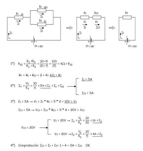Circuito Mixto : Circuitos mixtos eléctricos y ejercicios resueltos
