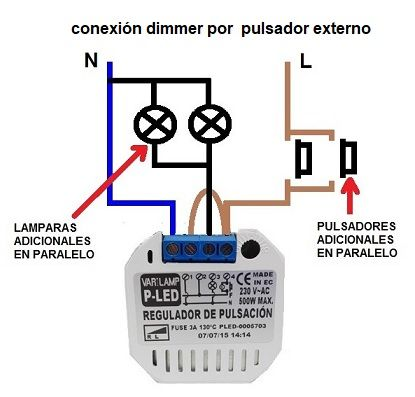 dimmer por pulsador conexion