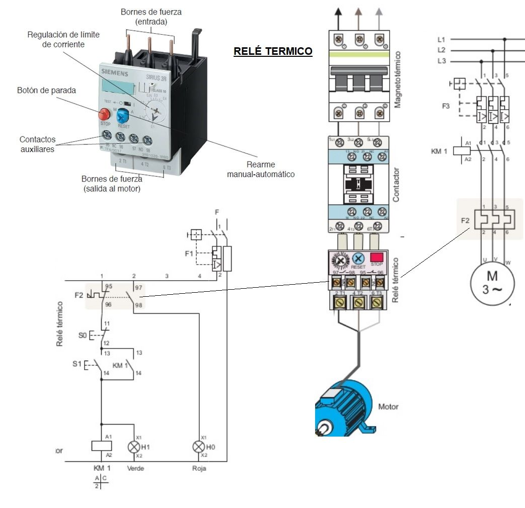 esquema motor bomba contactor y rel trmico ingeniera elctrica