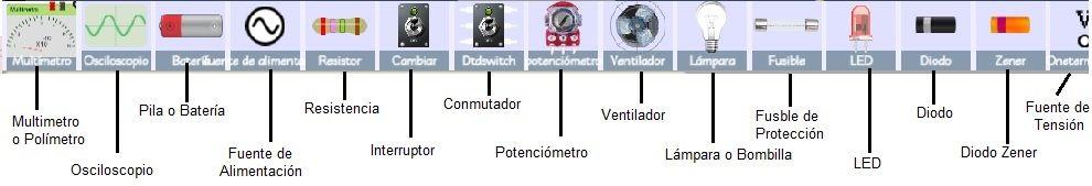 simulador de circuitos electronicos componentes