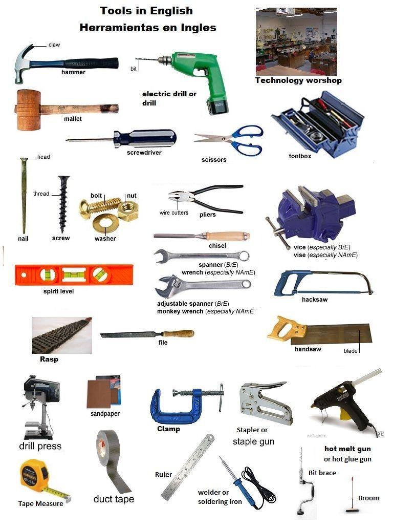herramientas nombres mesa para la cama